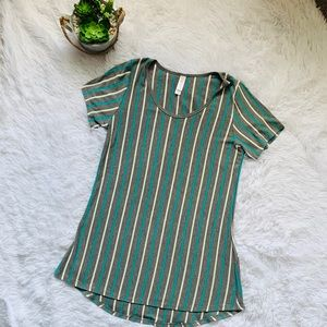 Lularoe gray and teal striped high low tunic
